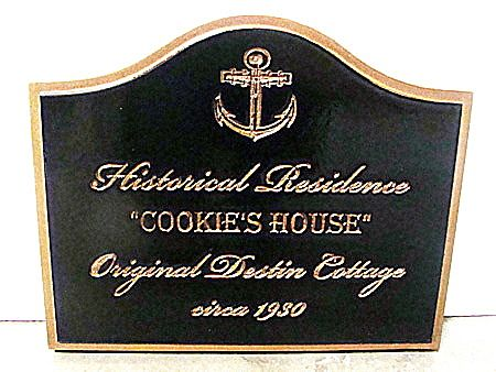 F15978 - Carved, Engraved HDU Sign for Historical Home with Ship's Anchor, Black with Gold Leaf