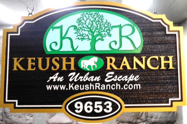 O24013 - Carved and Sandblasted HDU Sign for the  Keusch Ranch