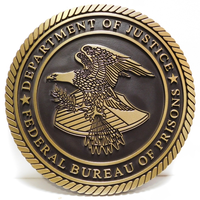 AP-2350 - Carved Plaque of the Seal of the US Department of Justice, 2.5-D Outline Relief, Painted Metallic Brass and Dark Bronze
