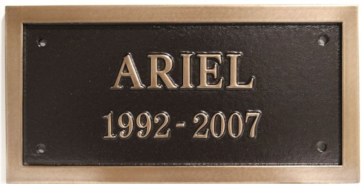 "ZP-2092 - Carved Memorial Wall Plaque for  ""Ariel"", 2.5-D Brass-Plated"