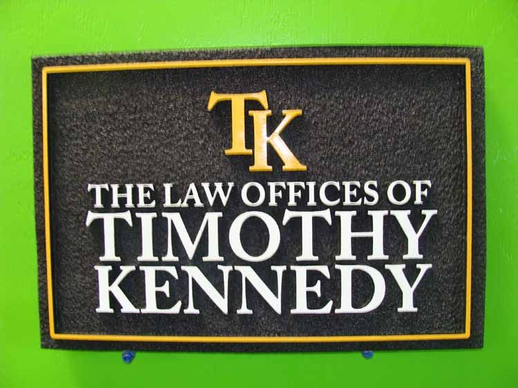 A10125 - Sandblasted HDU Black, Gold and White Attorney Wall Sign