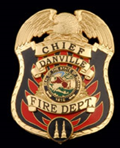 QP-1085 - Carved Wall Plaque of  the Badge of the Chief of the Fire Department , Danville, Iowa,Gold  Leaf Gilded