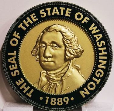 W32522 - Carved 3-D Brass-Plated Plaque of the Great Seal of the State ofWashington
