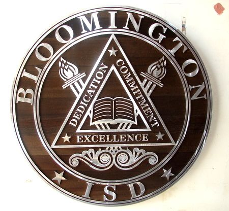 WP5305- Seal of Bloomington School District, Dark Stained Cedar with Aluminum Cladding