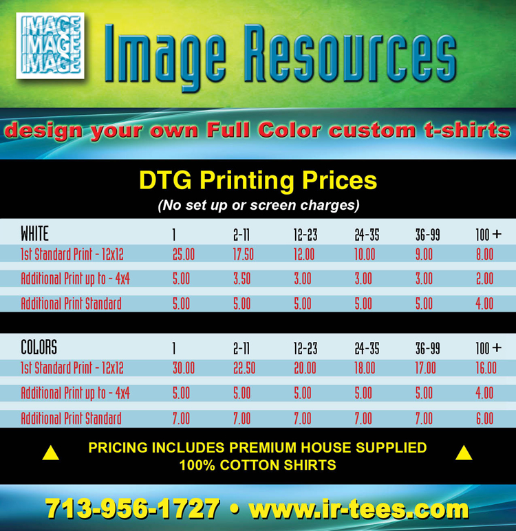 Short run full color t shirts in houston for T shirt printing price list