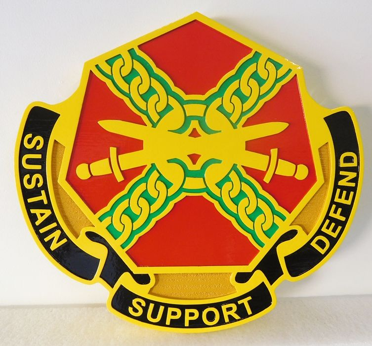 V31792 -  Wall Plaque of a Crest for a  US Army Unit,  Carved in 2.5-D Raised and Engraved Relief