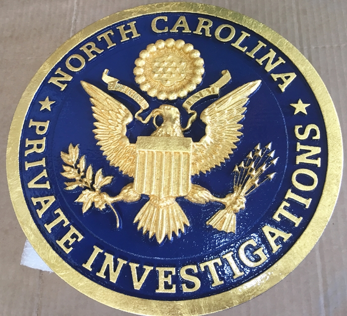 VP-1345 - Carved Wall Plaque of the Logo of North Carolina Private Investigators, Gold Leaf Gilded