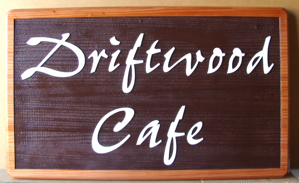 M3809 - Carved and Sandblasted, Stained Redwood Sign for Driftwood Cafe, Natural Redwood Frame (Gallery 25)