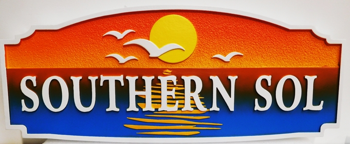 """L21239 - Carved and Sandblasted HDU Beach House Name Sign """"Southern Sol"""", 2.5-D Artist-Painted  with Ocean, Seagulls and Setting Sun as Artwork"""