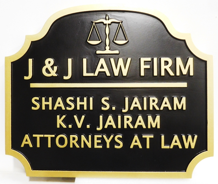 "A10430 - Carved HDU  Sign for ""J&J Law Firm"", 2.5-D"