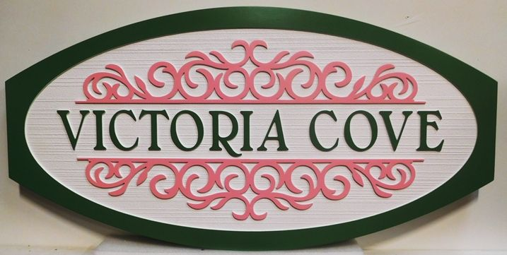 """L21931 - Elegant  Carved and Sandblasted 2.5-D HDU Sign for the """"Victoria Cove"""" Coastal Residence."""