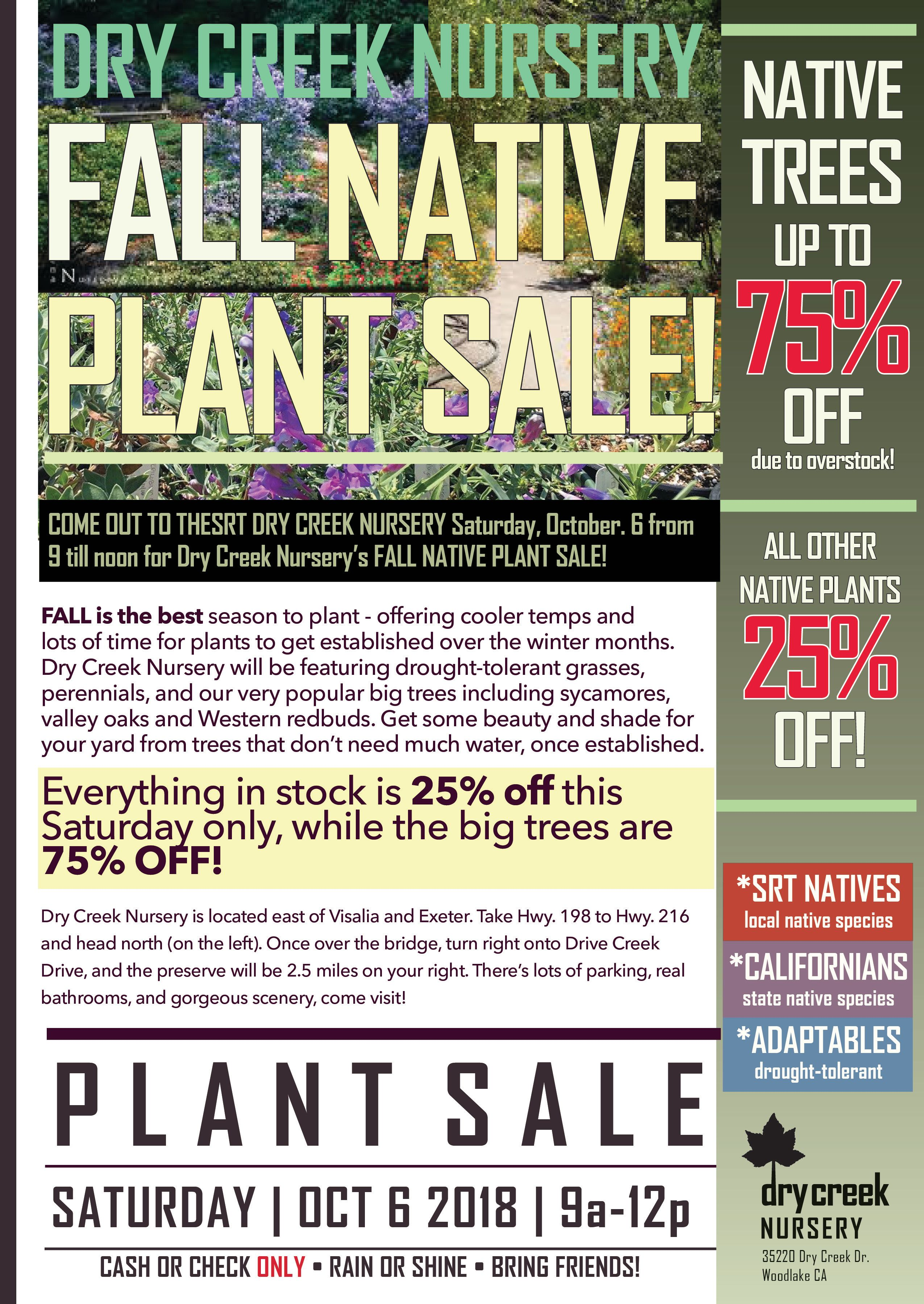 FALL Native Plant SALE at Dry Creek Nursery!