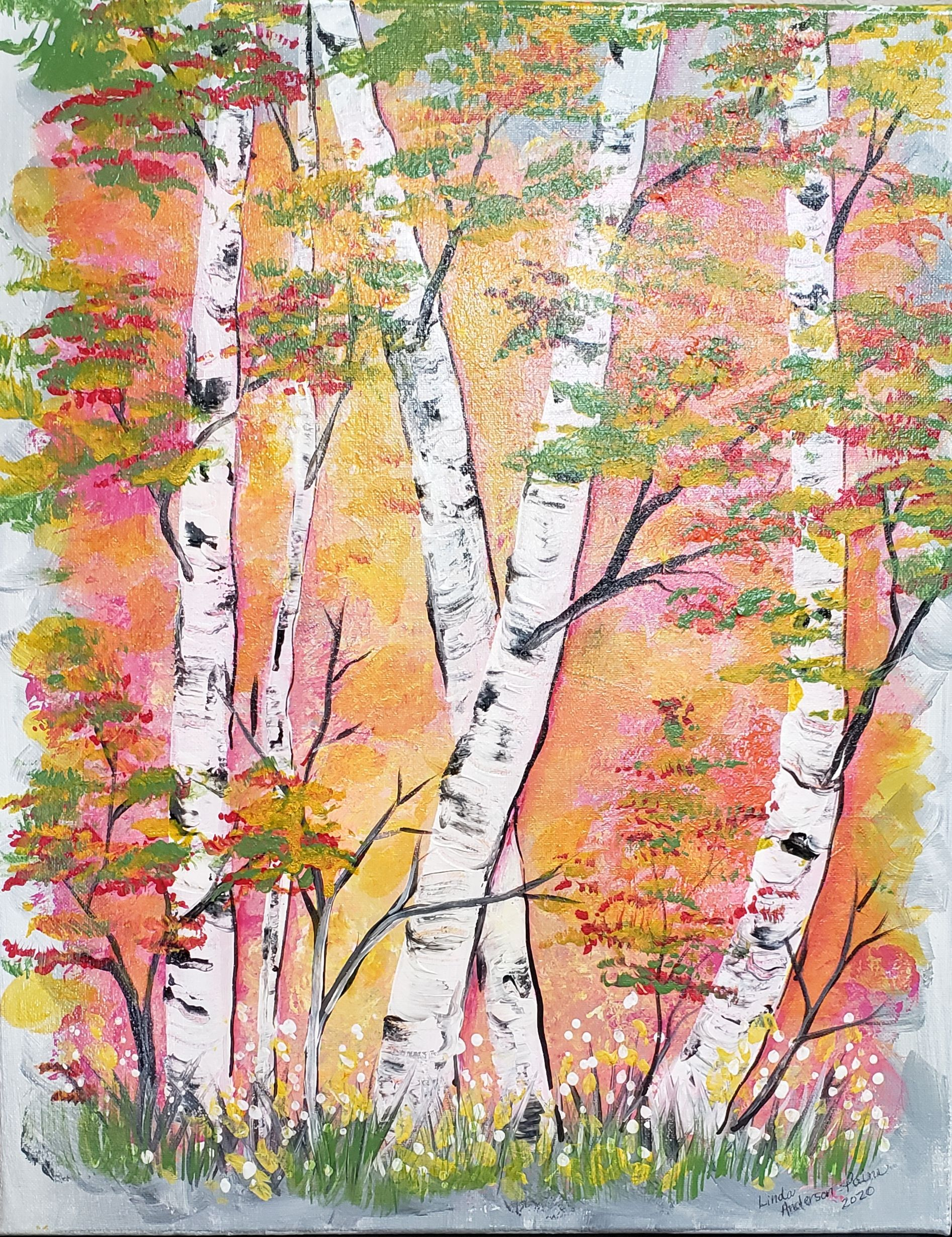 "Coffee & Canvas with Linda Anderson-Paine ""Birch Sunrise"""
