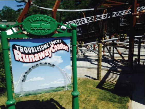 GA16535 - Carved, HDU, Antique Locomotive Train Sign Shown in GA16543, Mounted on Posts for Amusement Park Ride
