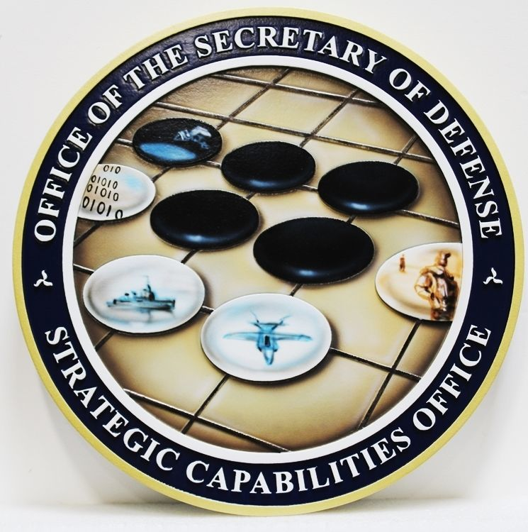 IP-1701 Carved 2.5-D Raised Relief HDU Plaque of the Seal of the Strategic Capabilities Office,  Office of the Secretary of Defense