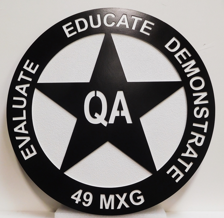 MP-2450 - Carved Plaque of the Insignia / Crest for a US Army Unit 49MXG, 2.5D  Engraved, Painted in Black and White