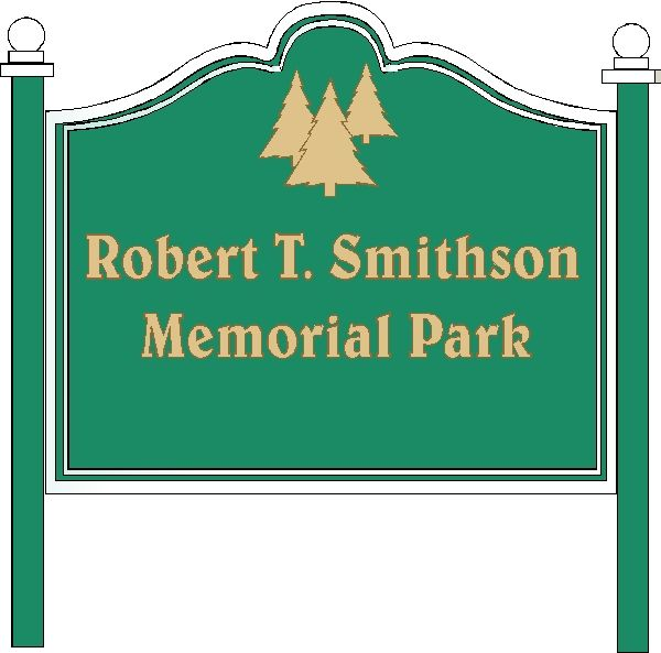 GA16460 - Design of Post-Mounted, Carved HDU Sign with Carved Trees for Memorial Park
