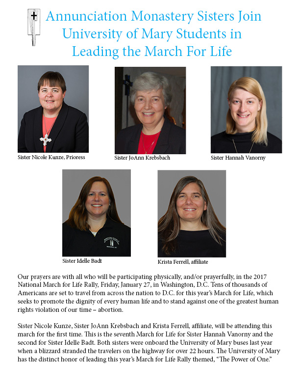 Sisters to Join University of Mary in Leading the March for Life