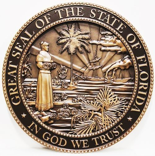 BP-1120 - Carved Plaque of the Seal of the State of Florida, Brass Plated