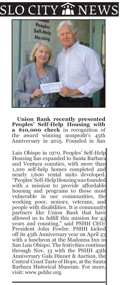 Union Bank recently presented Peoples' Self-Help Housing with a $10,000 check - SLO City News