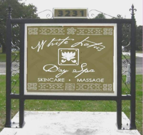"S28040 - Entrance Sign for""White Lotus  Day Spa"" with Lotus and Ornate Iron Support Frame"