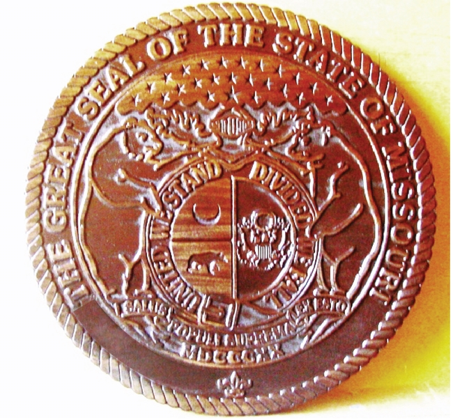 BP-1300 - Carved Plaque of the Seal of the State of Missouri, Mahogany