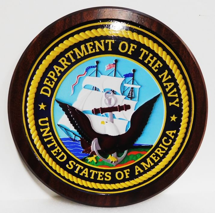 JP-1065 - Carved Plaque of the Great Seal of the US Navy, 3-D African Mahogany, Artist-Painted