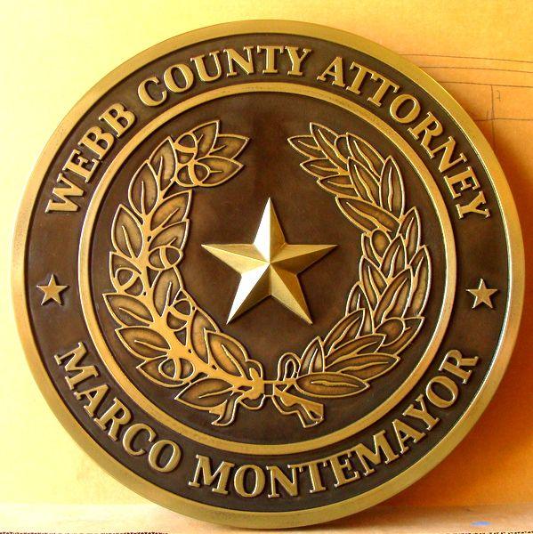 X33392 - Carved Brass Plaque of the Great Seal of Texas for Webb County, County Attorney's Office