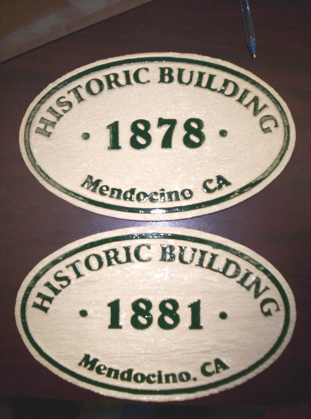 F15425 - Carved, Painted Wood Signs for Historic Buildings in Mendocino, CA