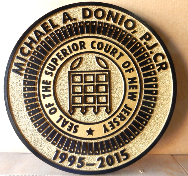 A10890 - 2.5-D Sandblasted HDU Wall Plaque for Superior Court of New Jersey