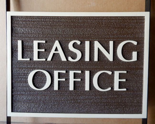 KA20507 - Carved Wood Grain HDU (Choice of Wood or HDU Available) Sign for Leasing Office