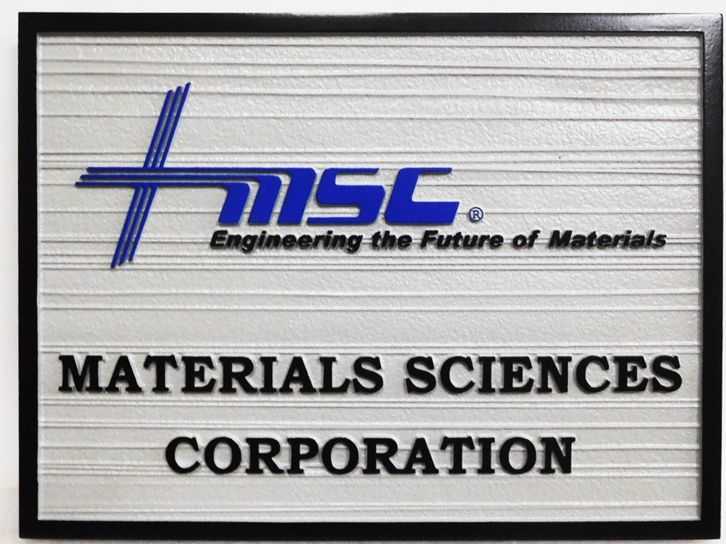"""S28033 - Large Carved and Sandblasted Wood Grain HDU Commercial Sign made for the """"Materials Science Corporation"""" , 2.5-D Artist-Painted"""