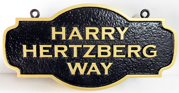 H17068 -  Carved  HDU) Hanging Street name Sign, Harry Hertzberg Way,