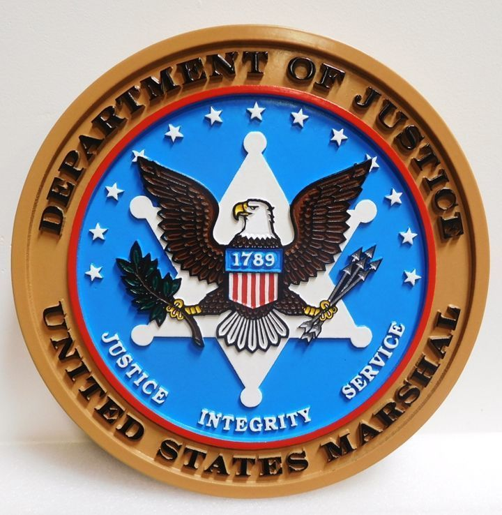 PP-1844 - Carved 2.5-D HDU Plaque of a Badge of a United States Marshall, Department of Justice