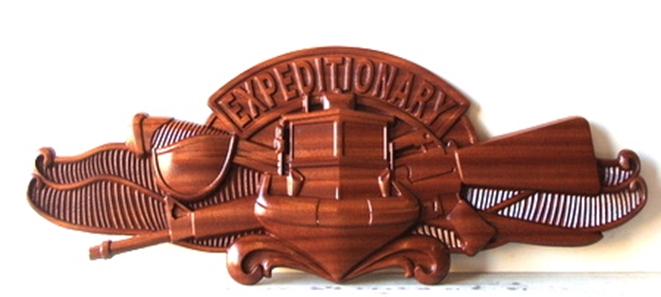 WM1340 - US Navy Special Expeditionary Forces Insignia / Badge,  3-D Stained Mahogany