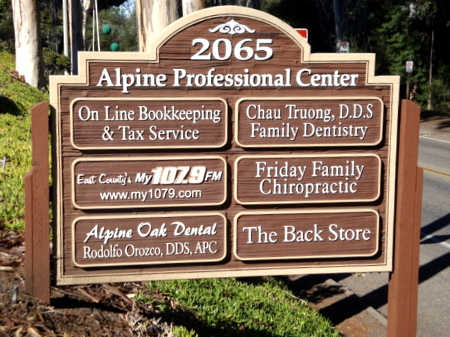 BA11515 - Large Carved  Directory Sign for Strip Mall with Two Dental Offices Listed