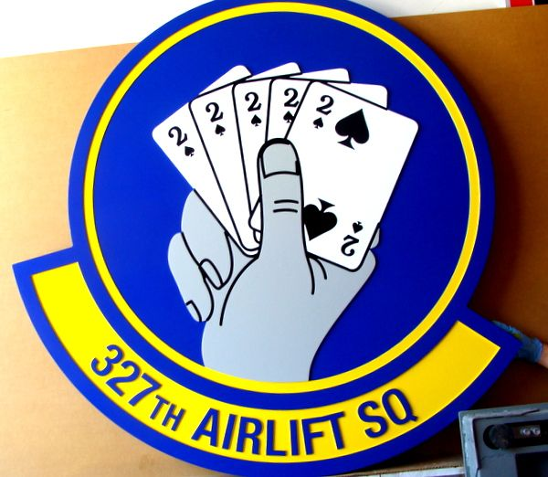V31549 – Carved 2.5-D Wall Plaque of the Crest of the US Air Force 327th Airlift Squadron, with  5 Deuces Card Hand