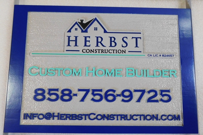 "S28110 - Carved and Sandblasted HDU Commercial Sign  for  ""Herbst Construction "" Store, 2.5-D Artist-Painted"