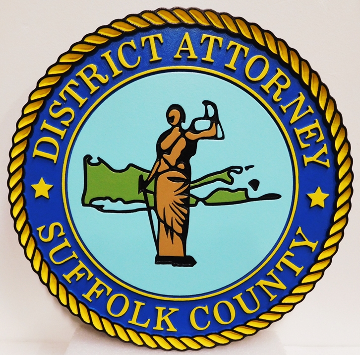 CP-1690 - Carved Plaque of the Seal of the District Attorney, Suffolk County, New York, Artist-Painted