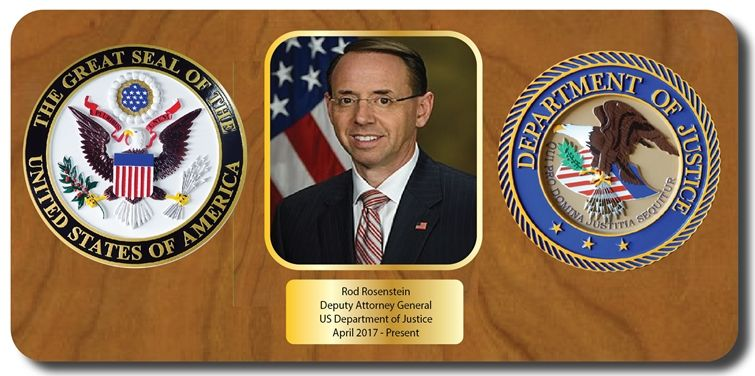 AP -2565 - Retirement Plaque for Deputy Attorney General, Rod Rosenstein, Giclee on Wood