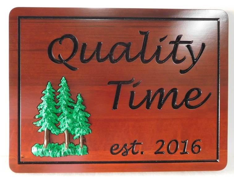 M22104 - Engraved  Western Red Cedar Cabin Sign with 3-D Carved Fir Trees as Artwork