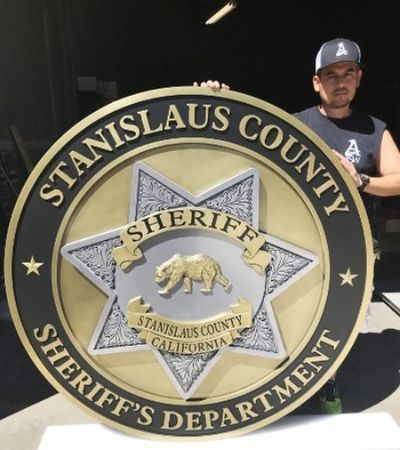 PP-1765- Carved Plaque of the Badge of the Sheriff's Department of Stanislaus County, California,  Brass Plated