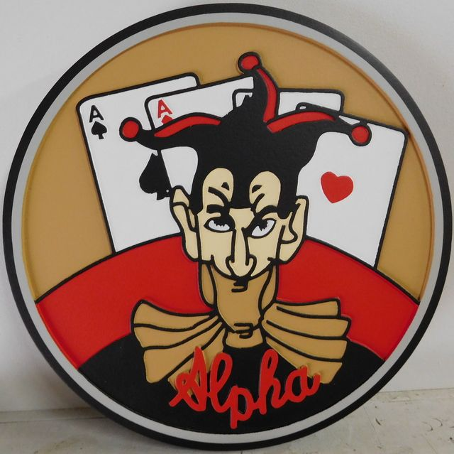 V31788A -  Carved 2.5-D Wall Plaque Featuring the Crest of the US Army Alpha Company, Featuring a Joker and Cards