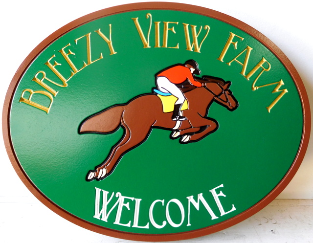 P25014 - Carved  2.5-D HDU Entrance Sign for Breezy View Farm,  with Engraved  Text and  an Equestrian  Jumping.