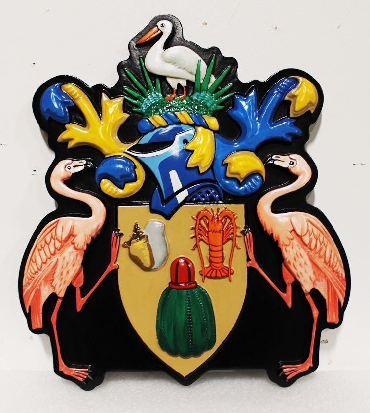 XP-1010 - Carved 3-D HDU Wall Plaque of a Coat-of-Arms with a Helmet,SeashoreAnimals, and a Shield Held by Two Flamingos