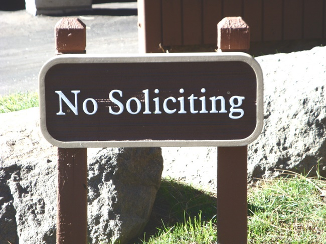 KA20749- No Soliciting Wood Grain Sign (Rustic) with Wood Posts