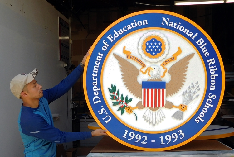 Y34723 - Carved 3-D HDU Plaque, for a National Blue Ribbon School, with US Great Seal