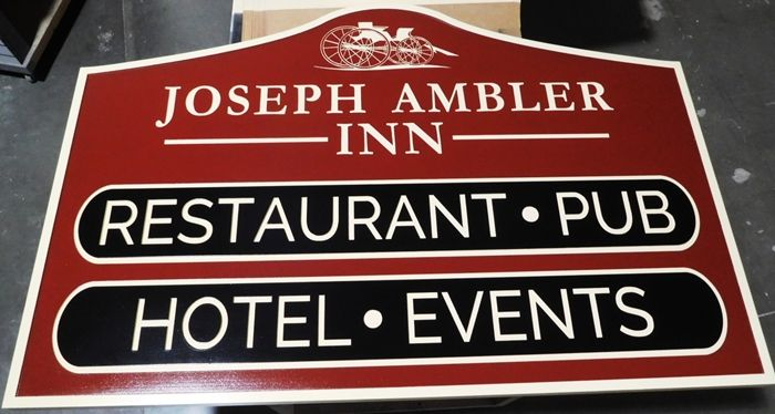 "T29022 - Carved HDU Sign  for the ""Joseph Ambler Inn"", 2.5-D with Carriage as Artwork"