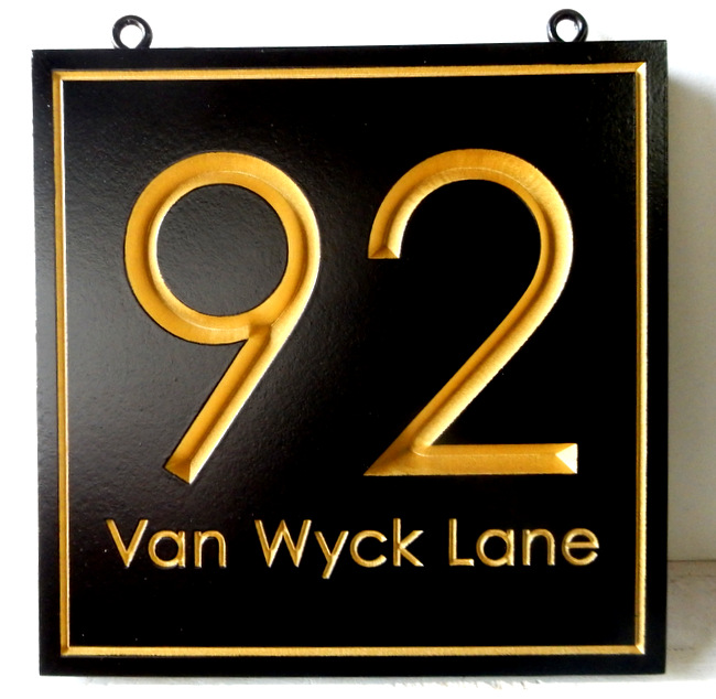 I18891 -Engraved V-carved Address Number Sign, with 24K Gold Leaf