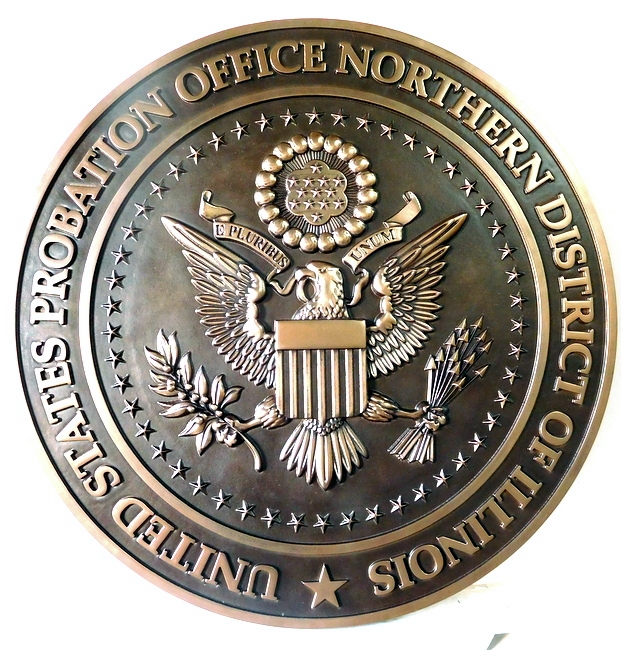 M7014 - Carved 3-D Bronze  Wall Plaque for US Probation Court, Northern District of Illinois